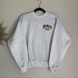 Hawaii Gray Aloha State Crewneck Sweatshirt Large